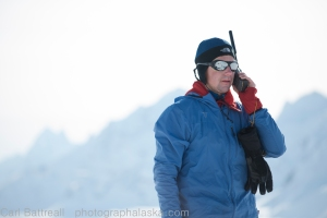 Chris calling K2 on the SAT phone.