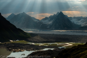 Light beams above the Ruth Glacier. Hazy days make for interesting light.
