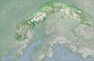 Map of the Alaska Range without the Tordrillo or Neacola Mountains