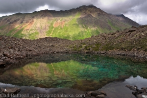 Mixed light reflection, unnamed tarn, Chugach State Park, Alaska