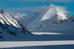 Clouds and shadows,  Peak 9073 and the Gillam Glacier
