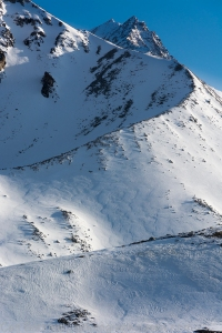 Our objective rises above the lateral moraine, Peak 8505, or Hidden Peak, because it was almost always hidden from view.