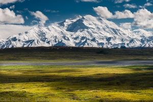 This image is taken from the north and highlights Denali's massive size and the wicked Wickersham Wall.
