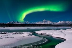 Huge aurora band over Denali.