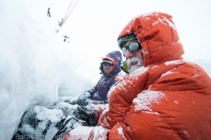 Forced bivy. Brad and Neil enjoying our trench in the glacier.