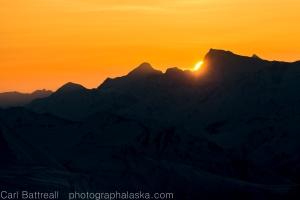 Sun sets behind Mount Shand.