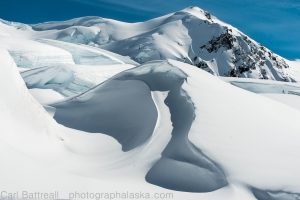 Firn crevasses, Moore Icefall, Icefall Peak in the background.